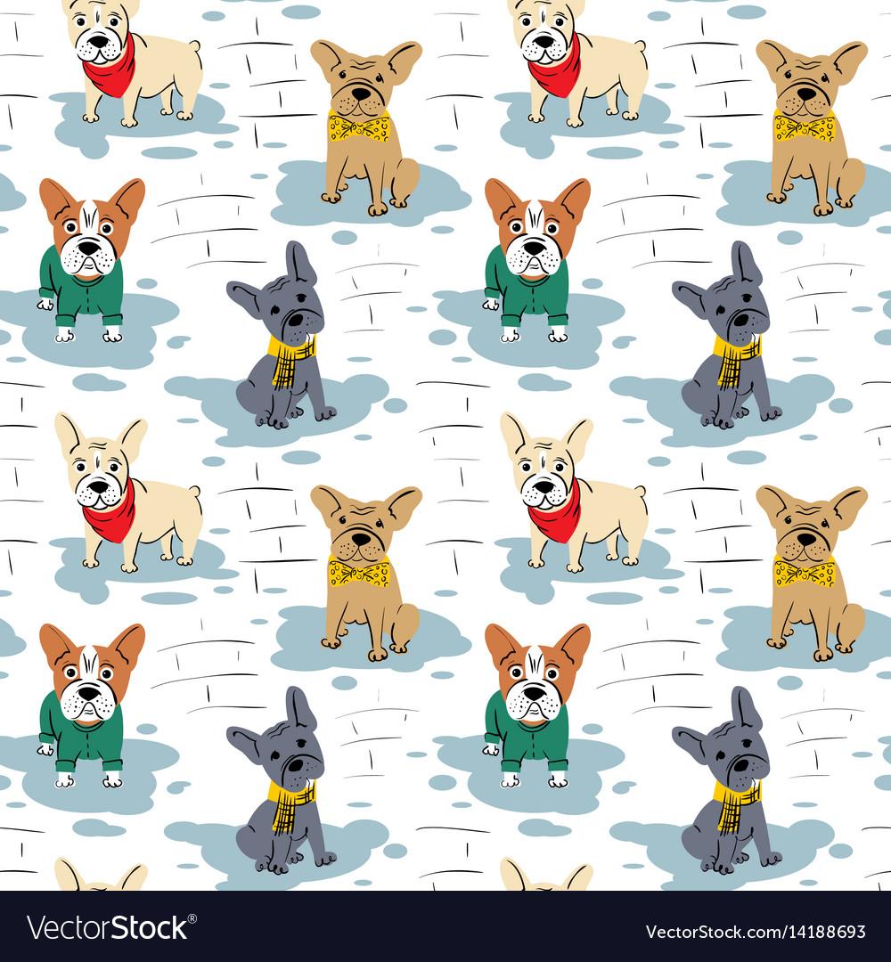 Cartoon character french bulldog seamless pattern