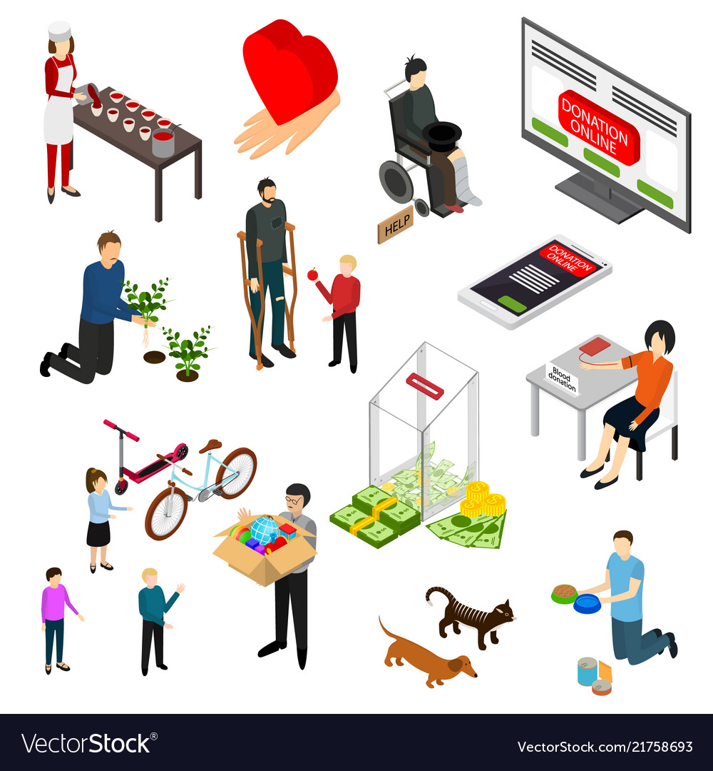 Charity donation funding icon set 3d isometric