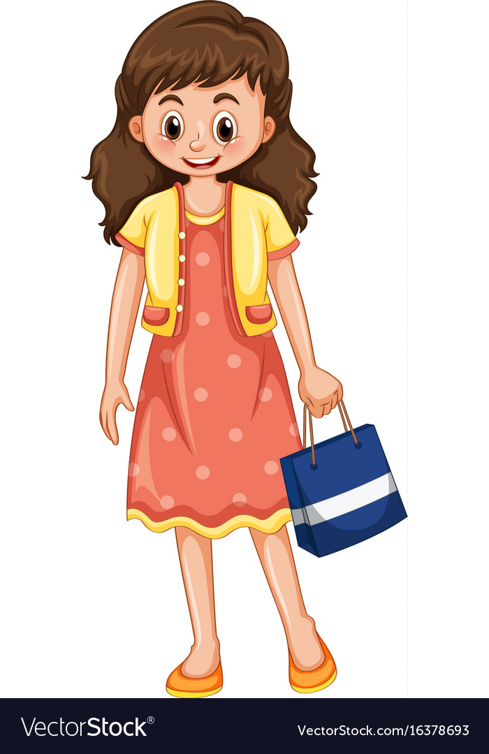 Happy woman with shopping bag vector image