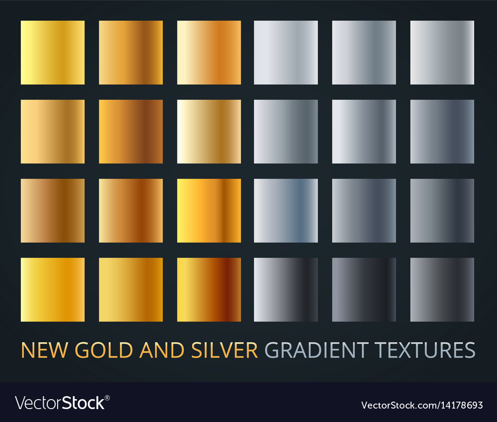 Set of silver and gold gradients on dark vector image