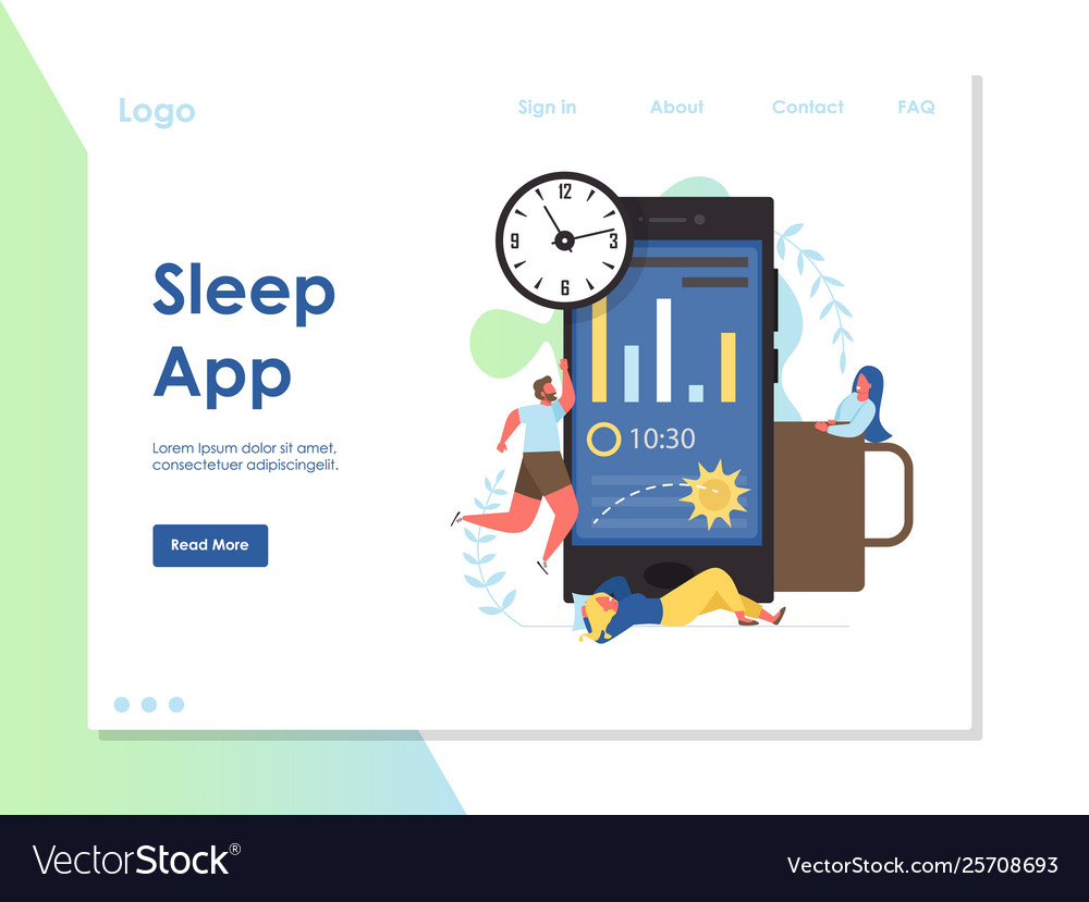 Sleep app website landing page design