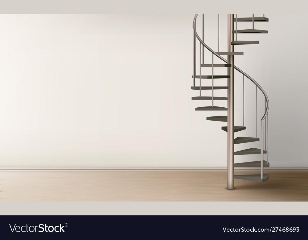 Spiral staircase in empty home interior design