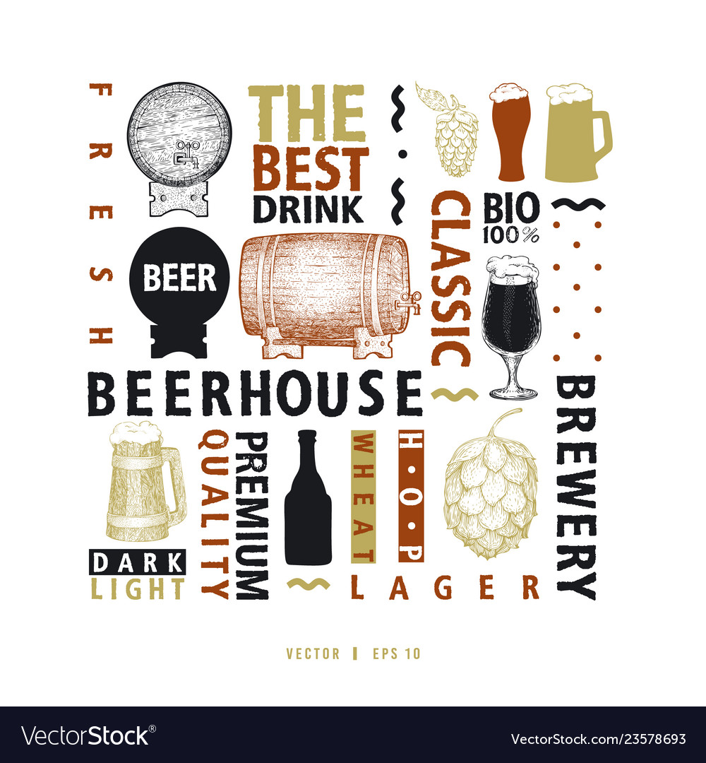 Typographic beer design template types of