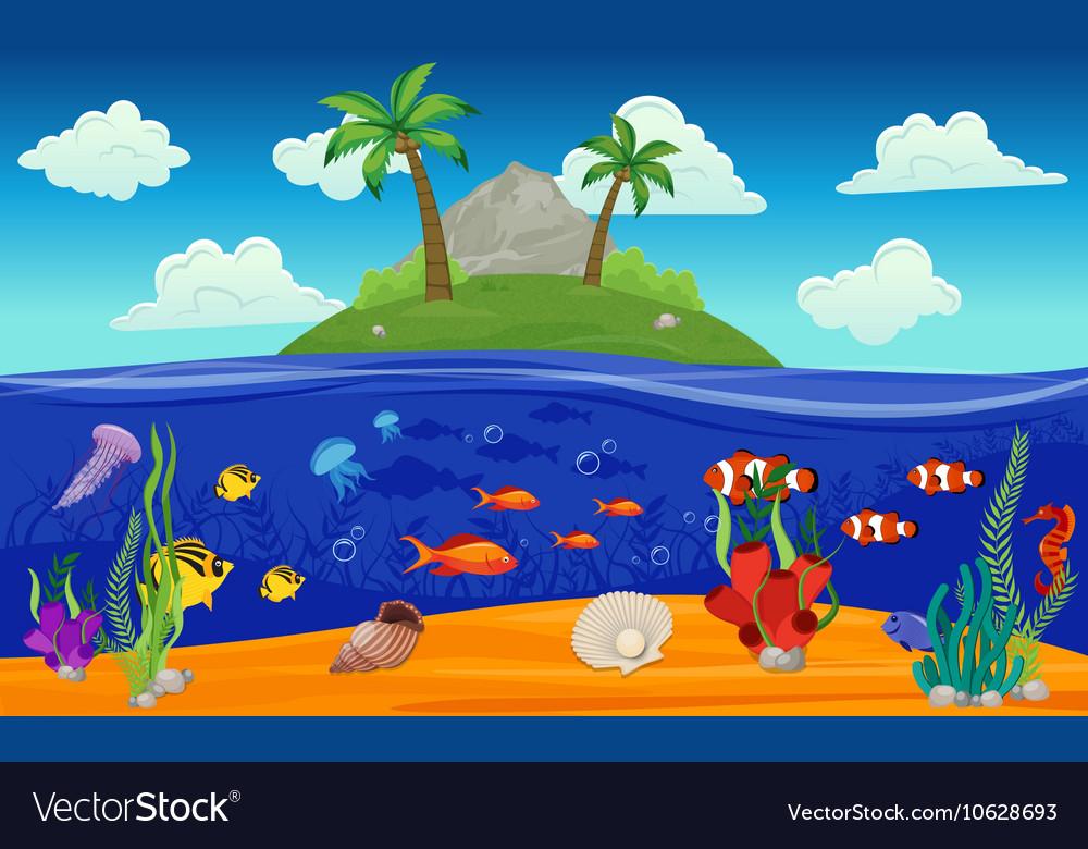 Underwater World Island Composition vector image