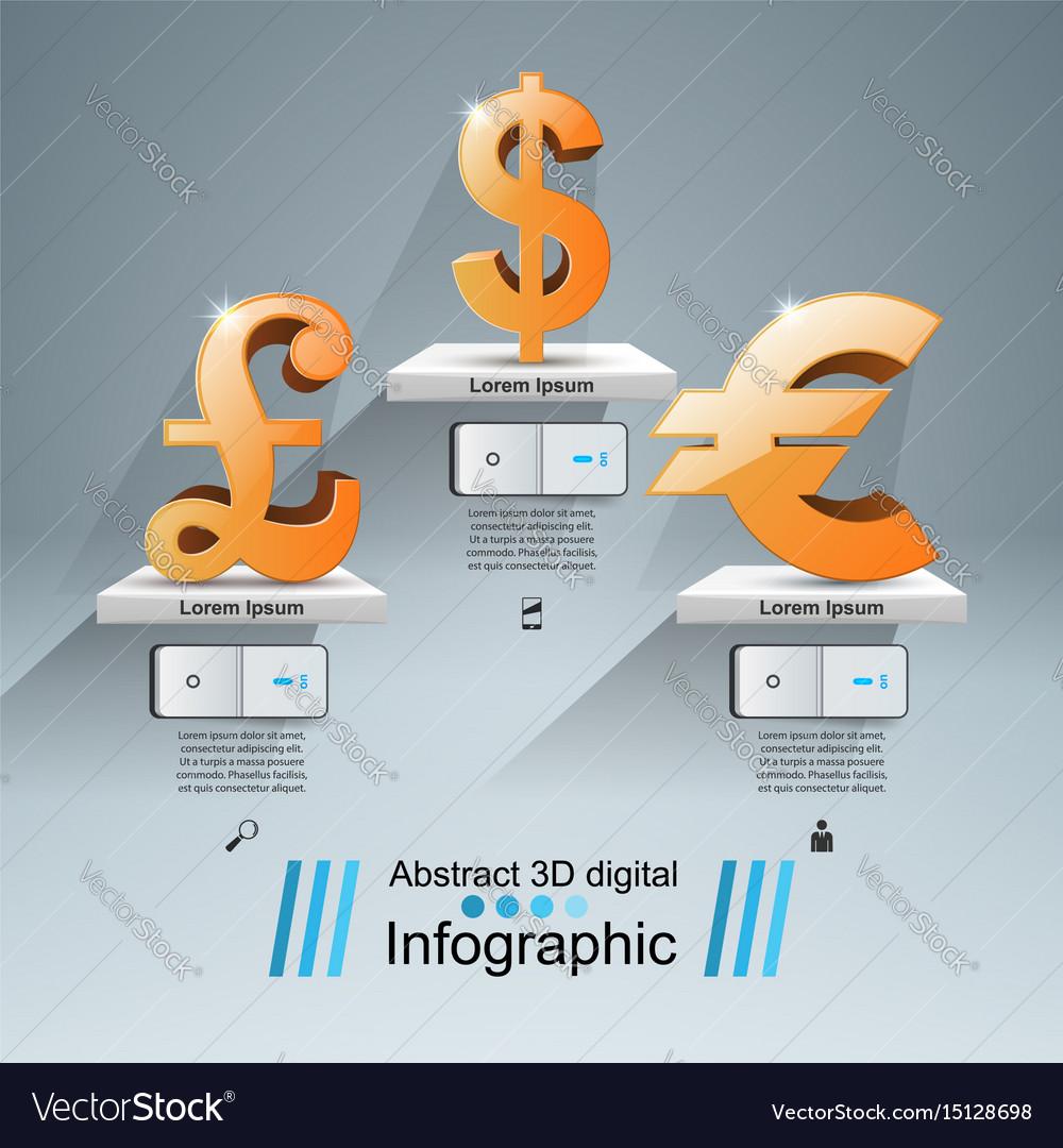 3d infographic euro british pound dollar icon vector image