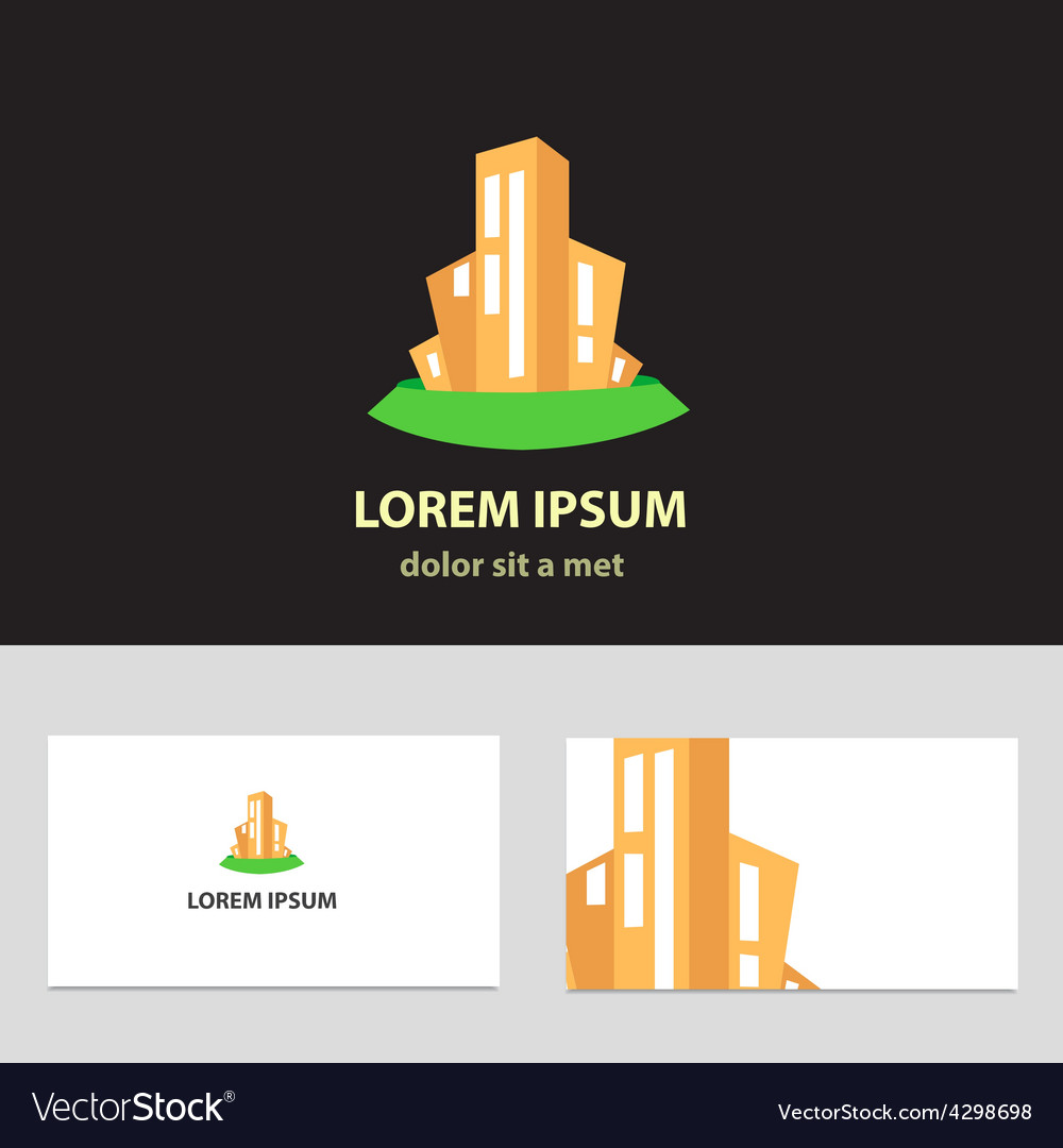 Abstract logo design template with business card