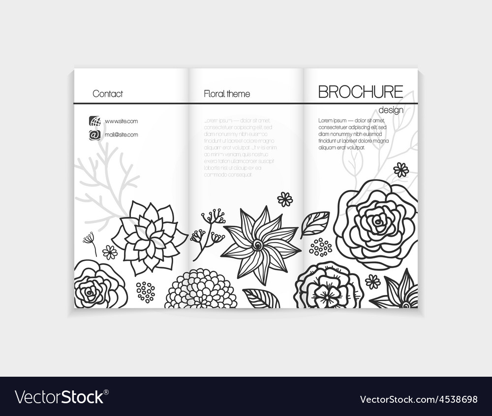Black and white floral brochure template design