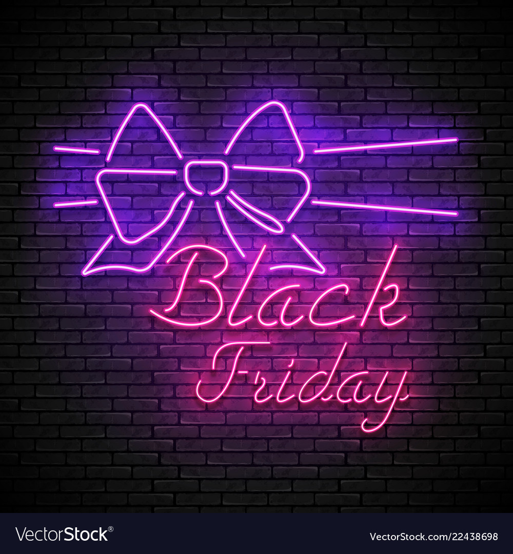 Black friday red neon sign with purple bow