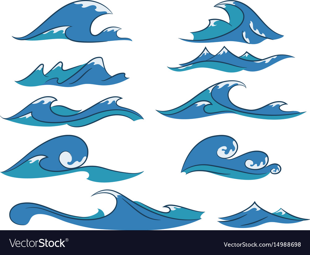 Cartoon waves set