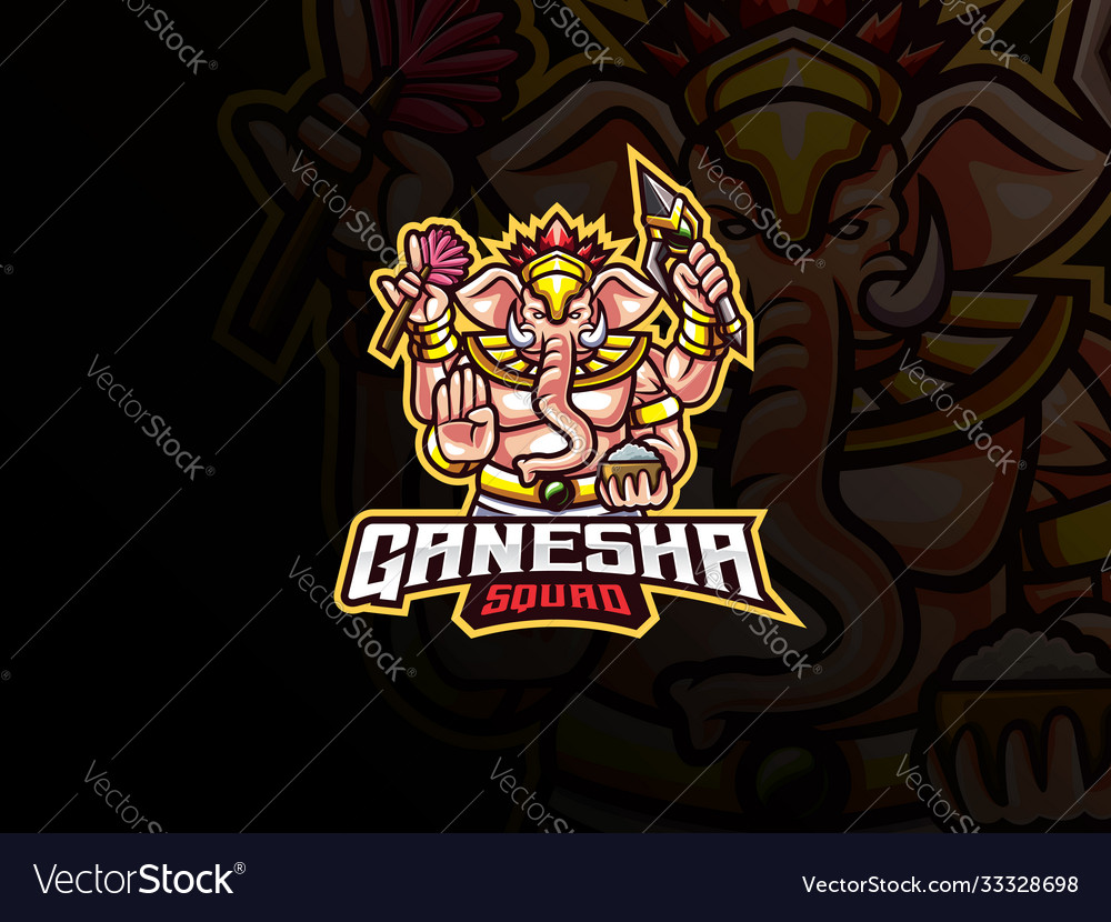 Ganesha mascot esport logo design