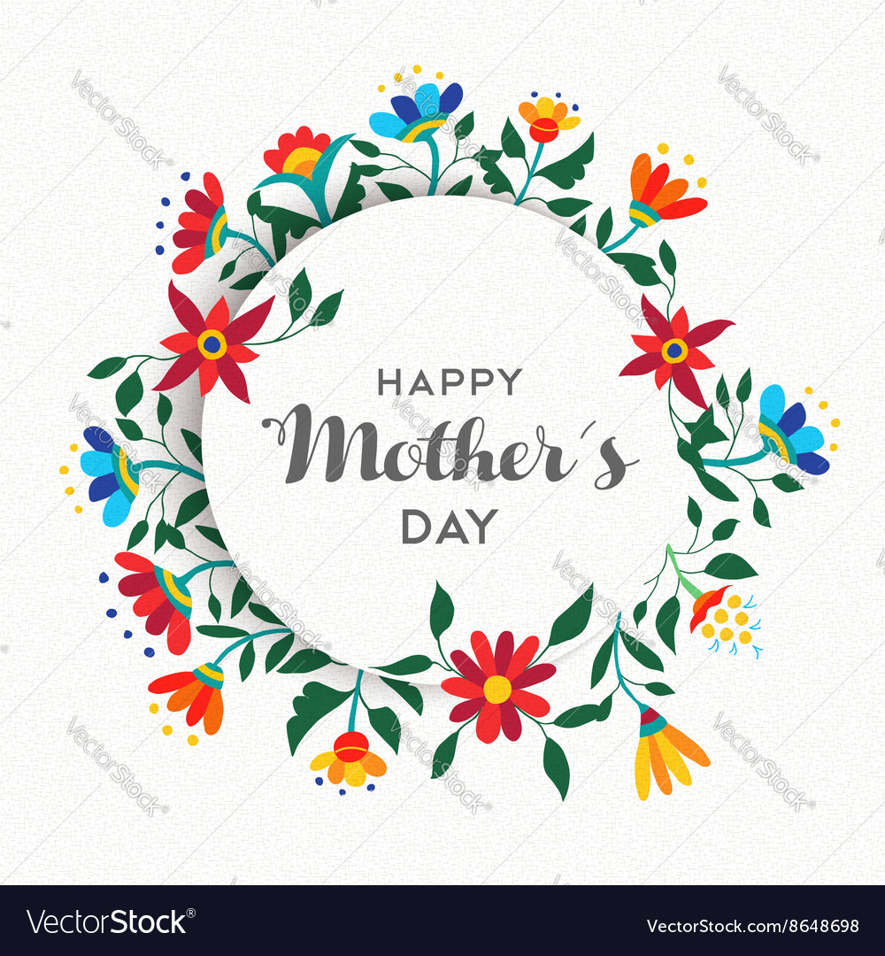 Happy mothers day simple floral ornament design