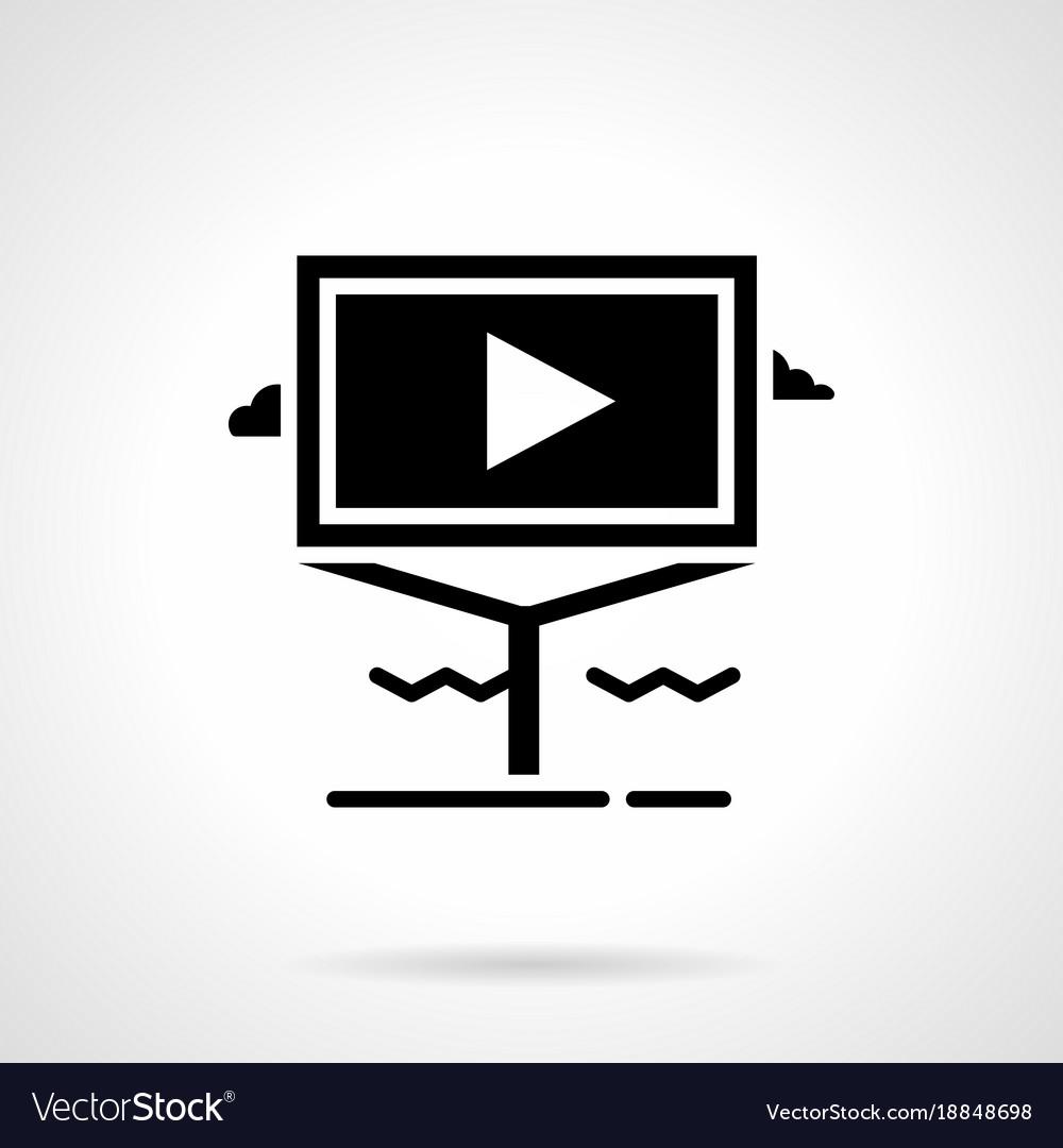 Informative video advertising glyph icon