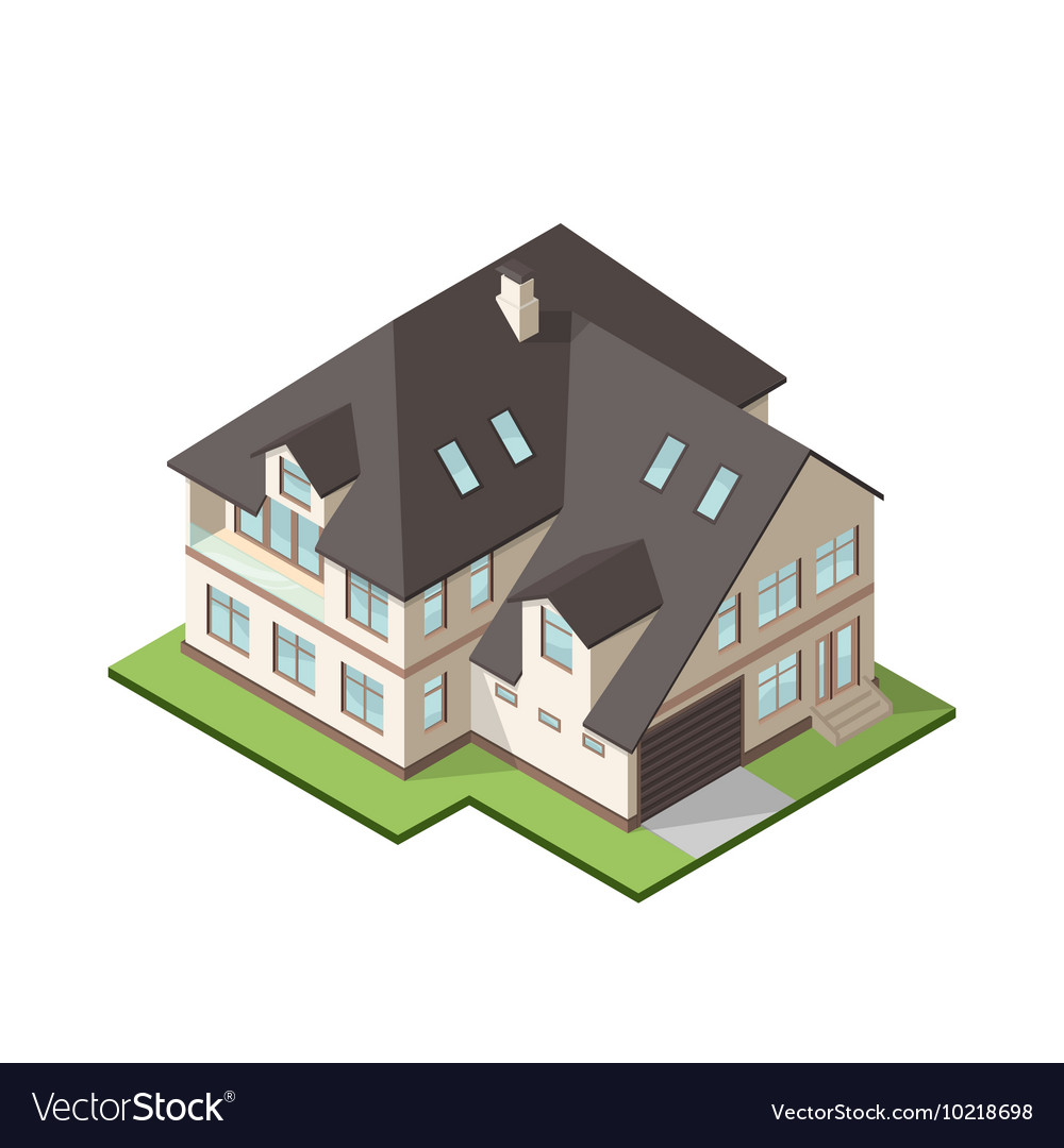 Isometric large private cottage or house for real
