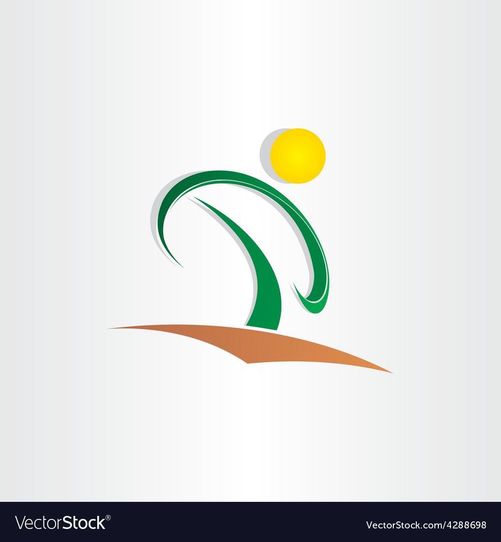 Letter p tree and sun icon vector image