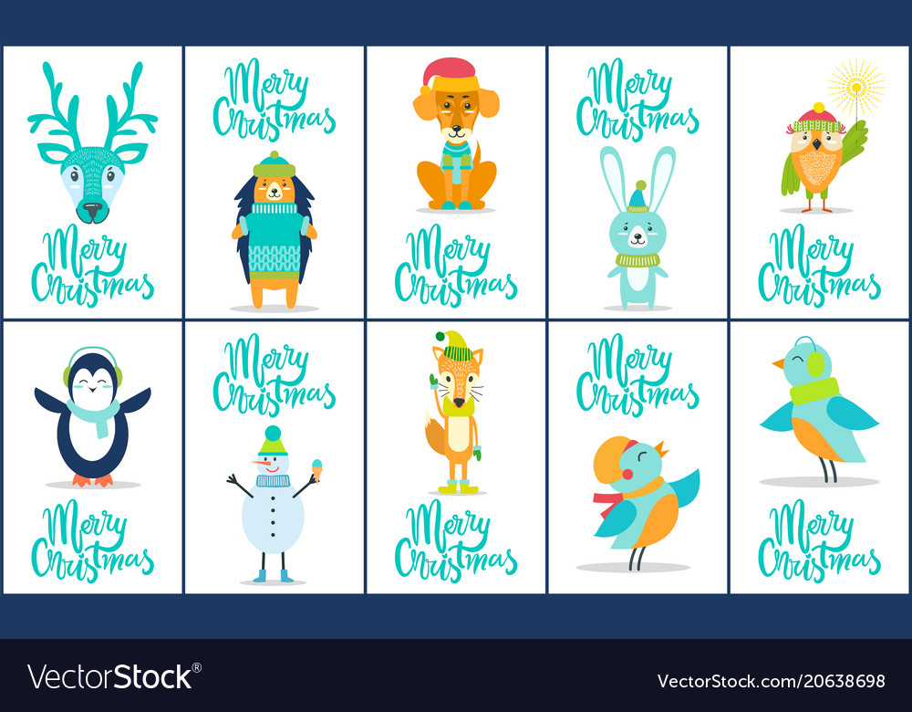 Merry christmas images animal vector
