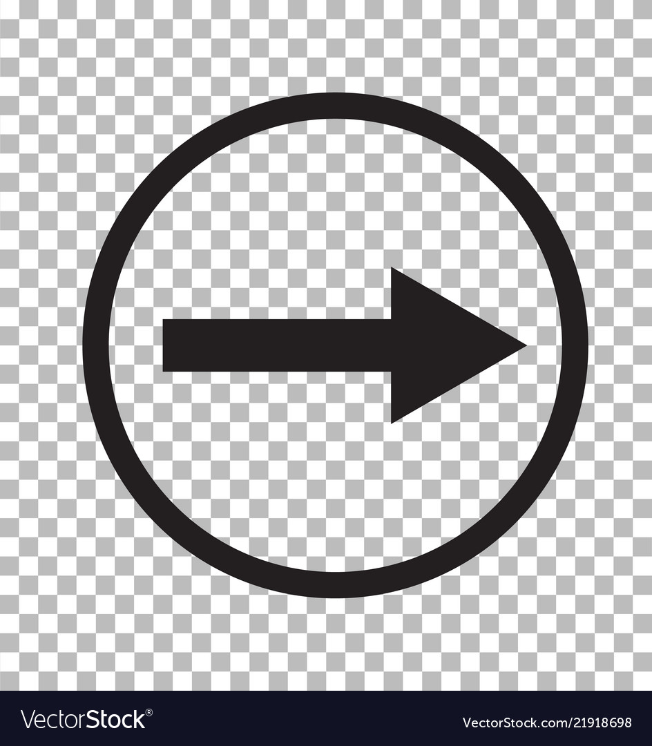 Right arrow icon on transparent background flat