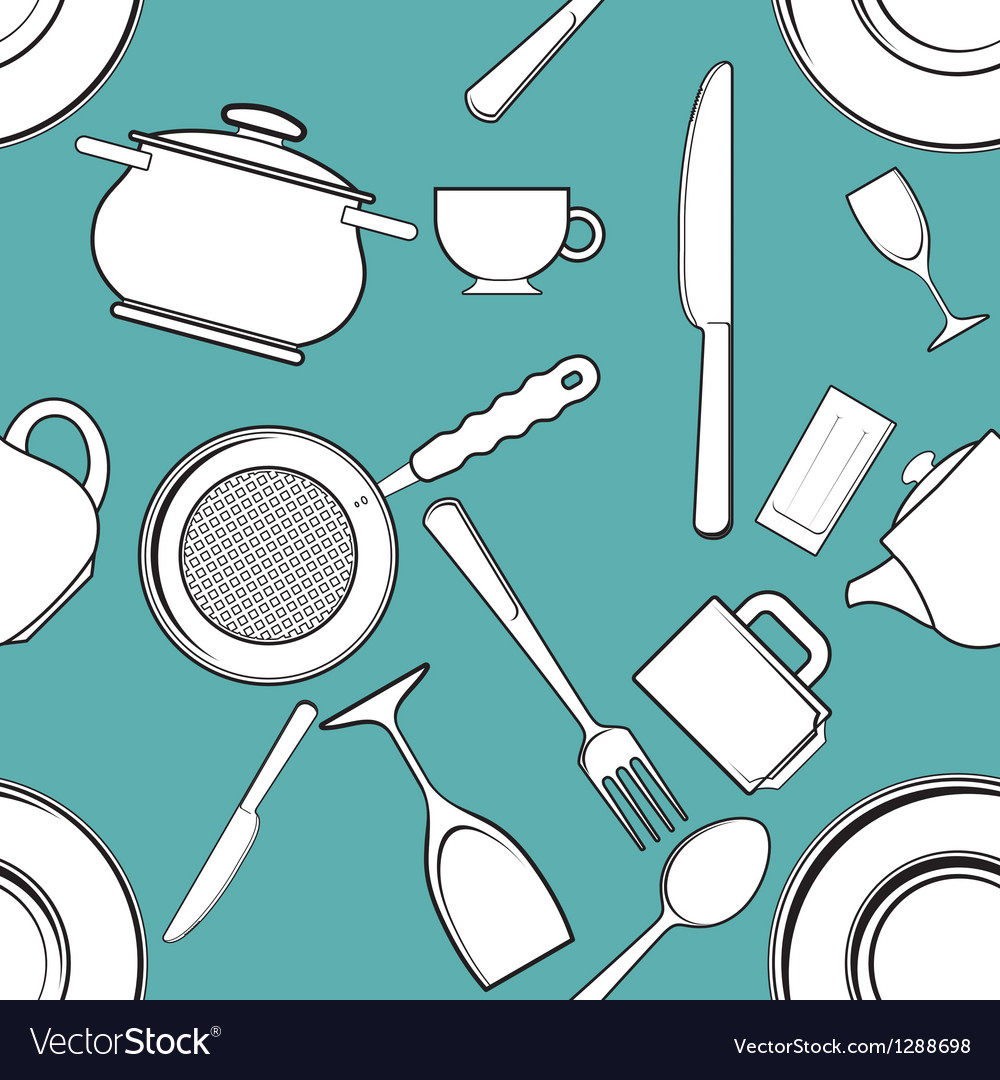 Seamless background with antique kitchen utensils Vector Image