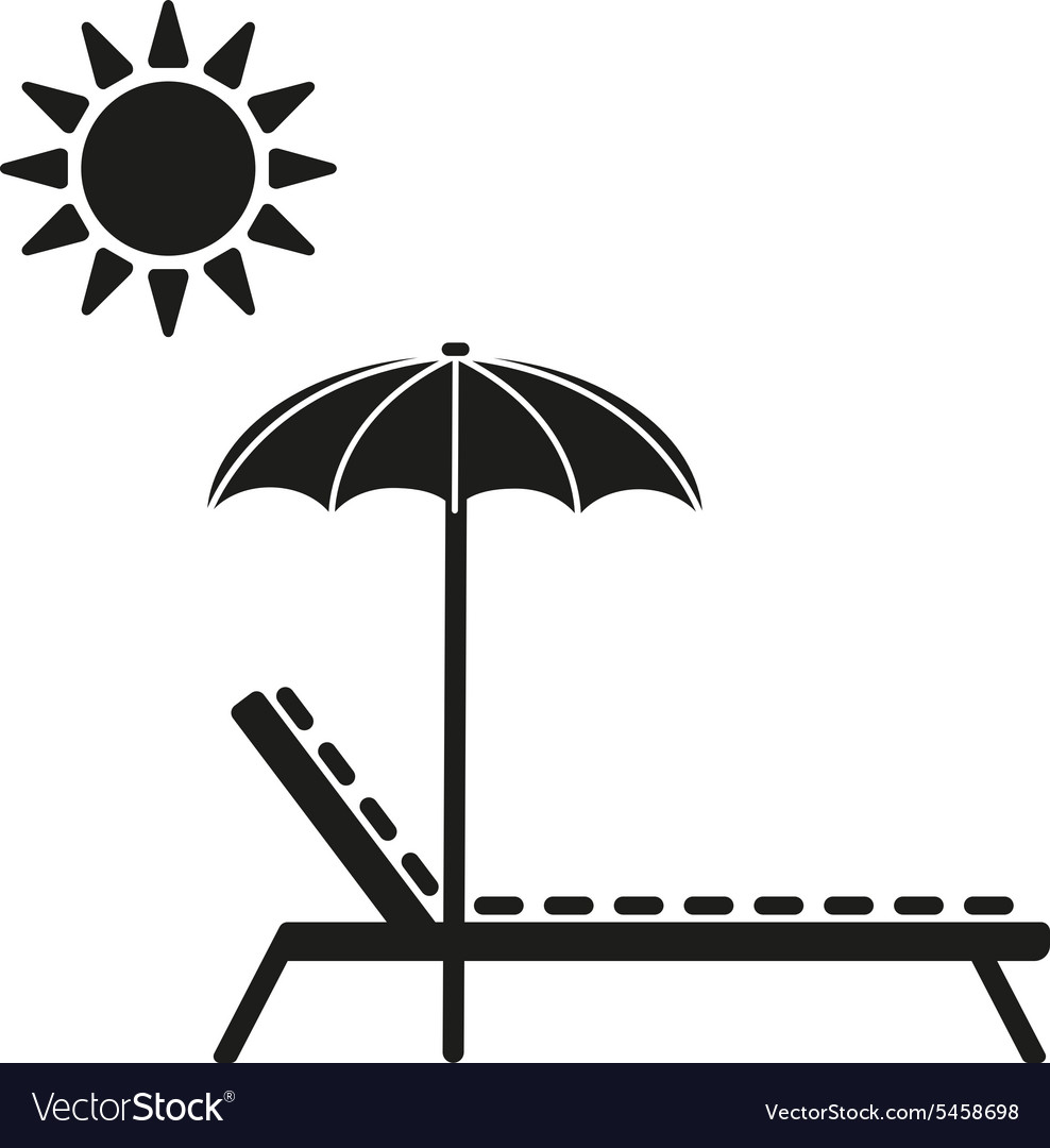 The lounger icon Sunbed symbol Flat