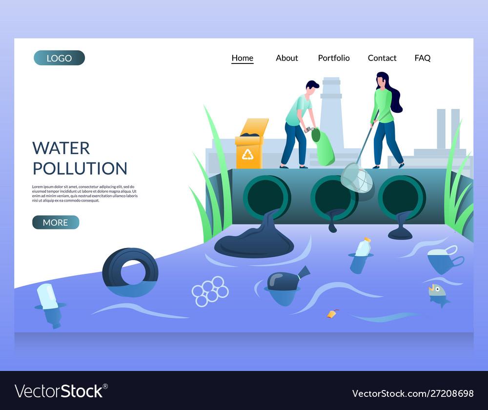 Water pollution website landing page design