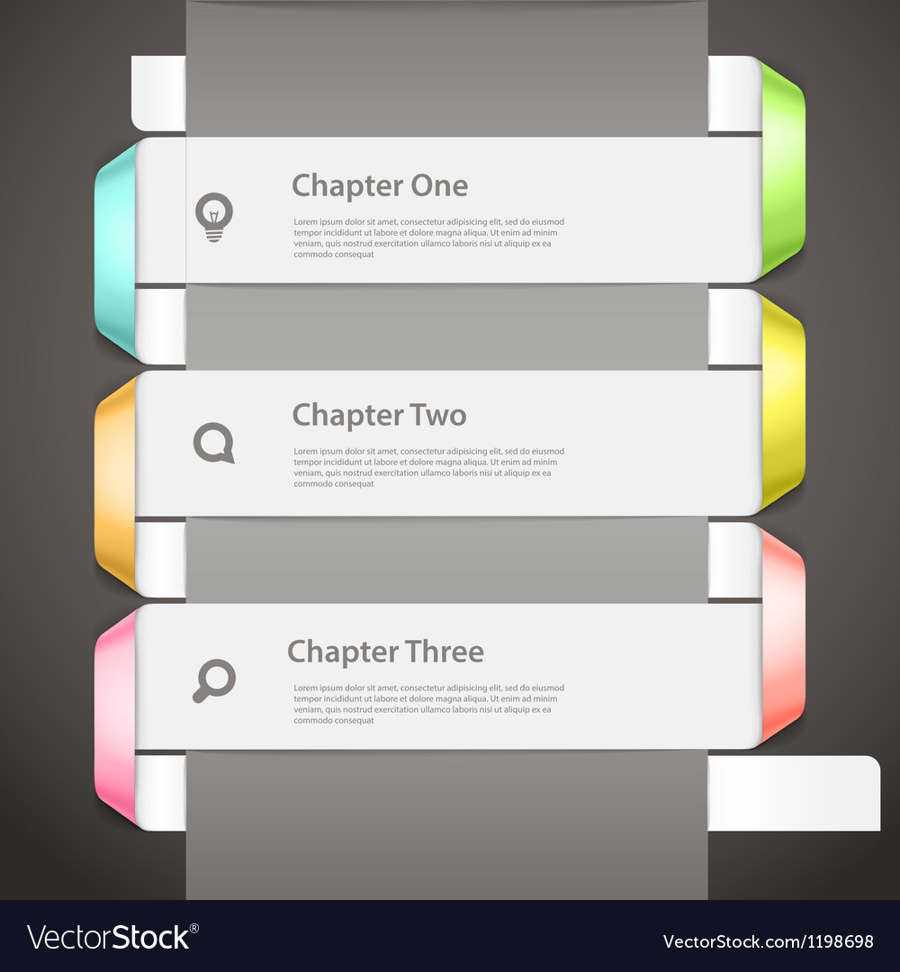 Website paper page design template with icons and vector image