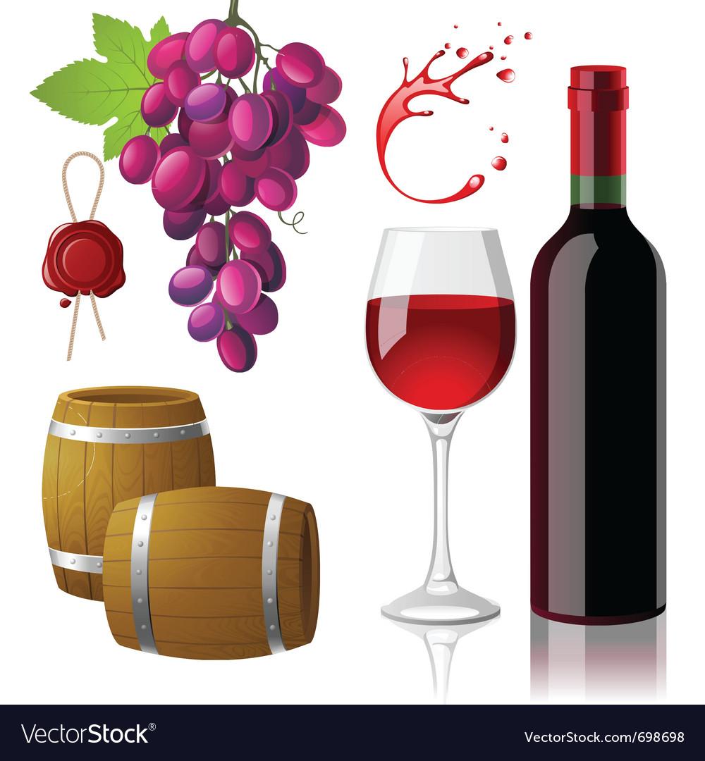 Wine icons set vector image