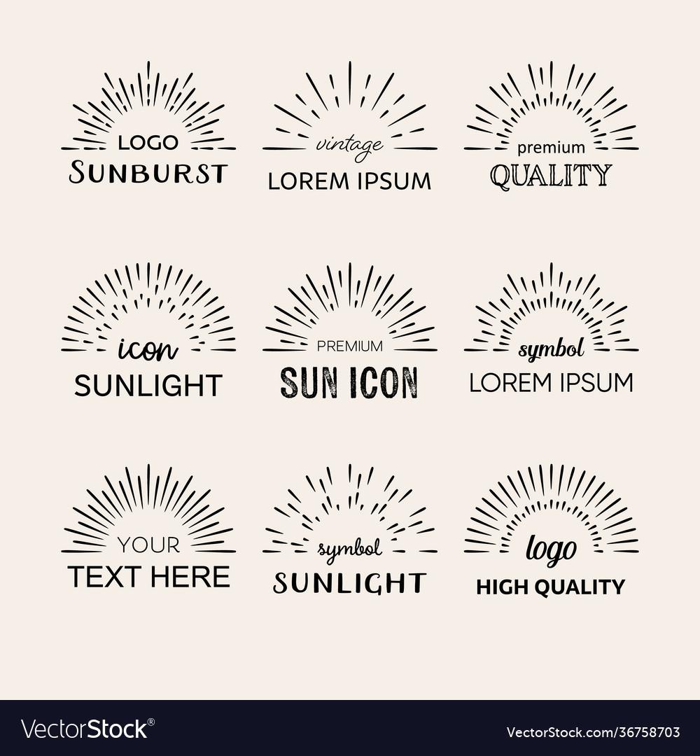 Black sunburst logo design elements set