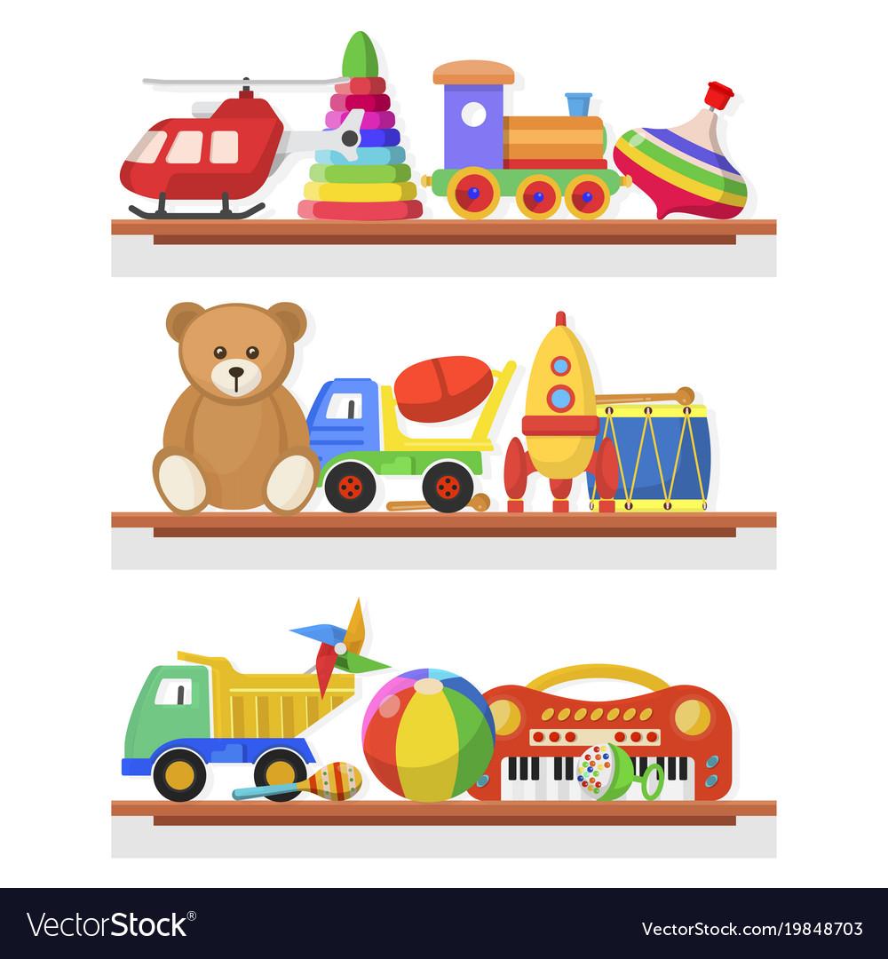 Childrens toys on the shelves