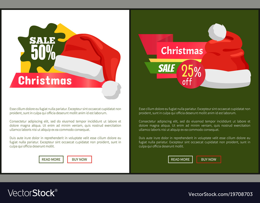 ed4dde5d1f98b Christmas sale santa hats on promo labels Vector Image