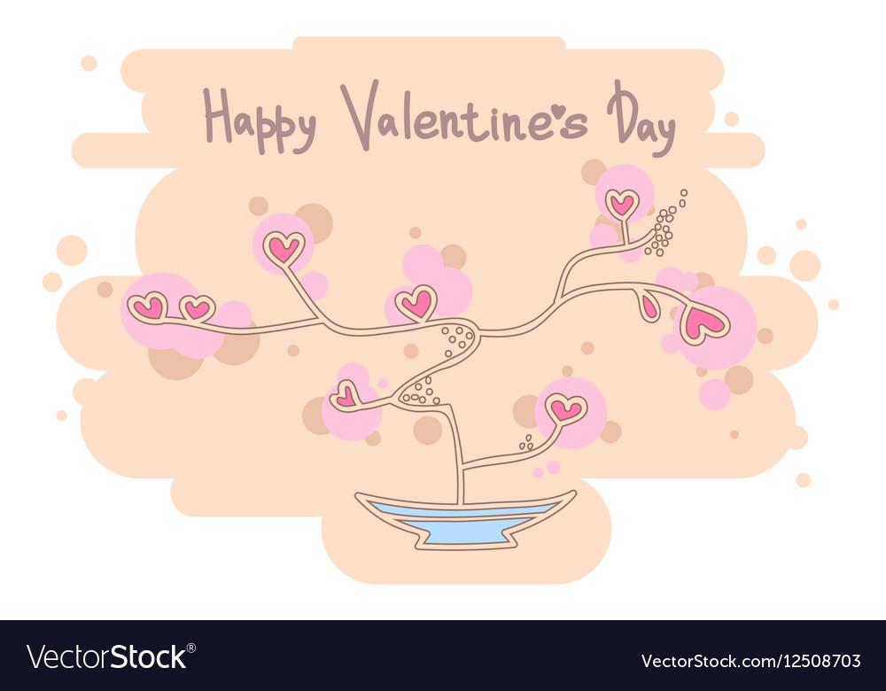Cute heart tree Happy Valentines Day design