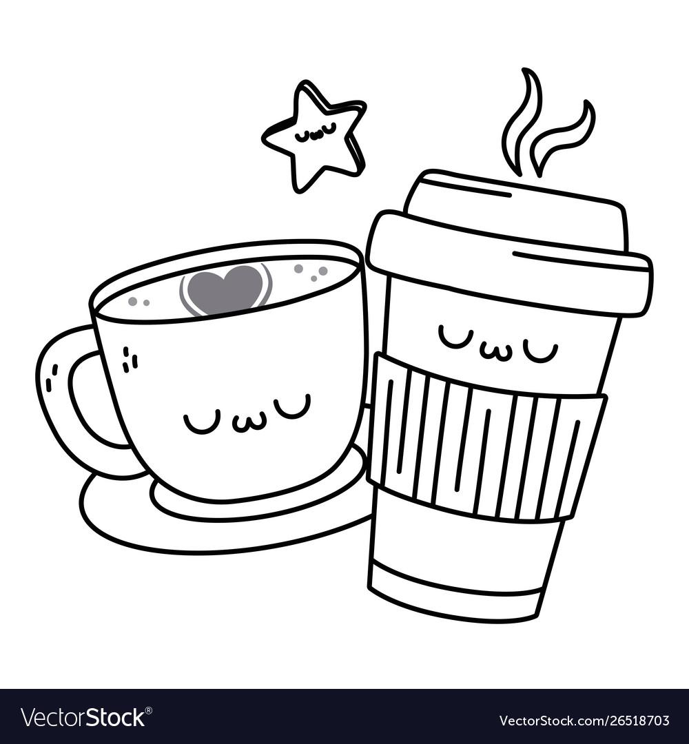 Kawaii Coffee Cup Cartoon Design Royalty Free Vector Image
