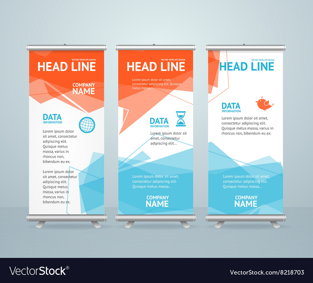 Roll up banner with colorful geometric bubble