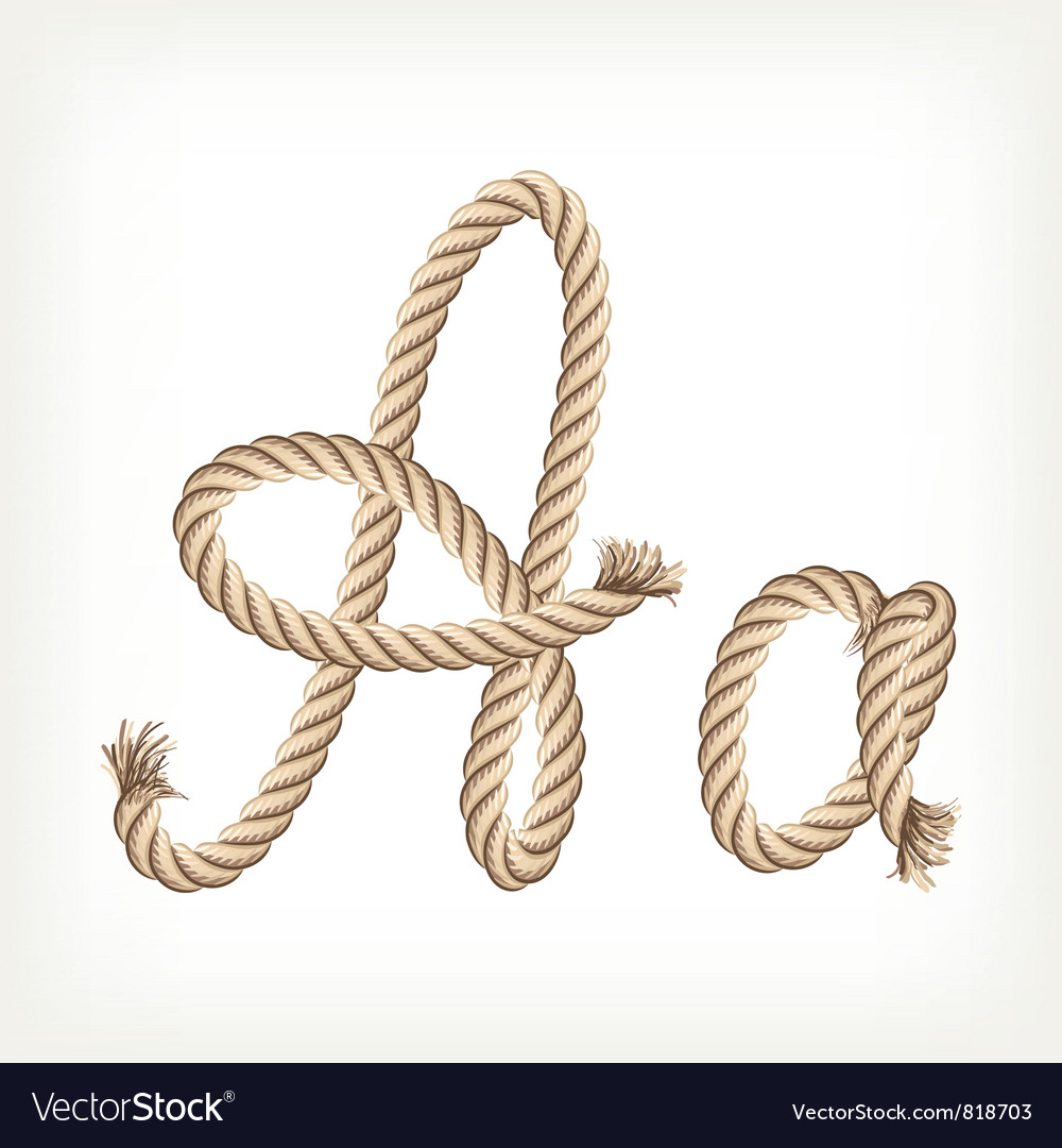Rope alphabet Letter A vector image