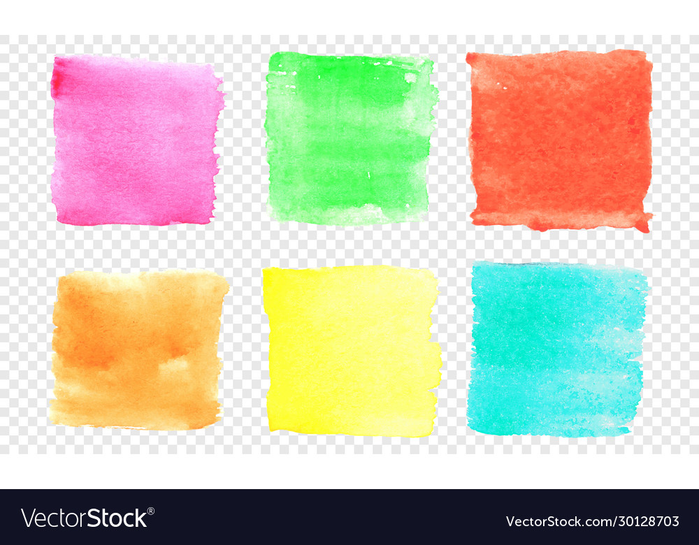 Square watercolor banner set color smear of