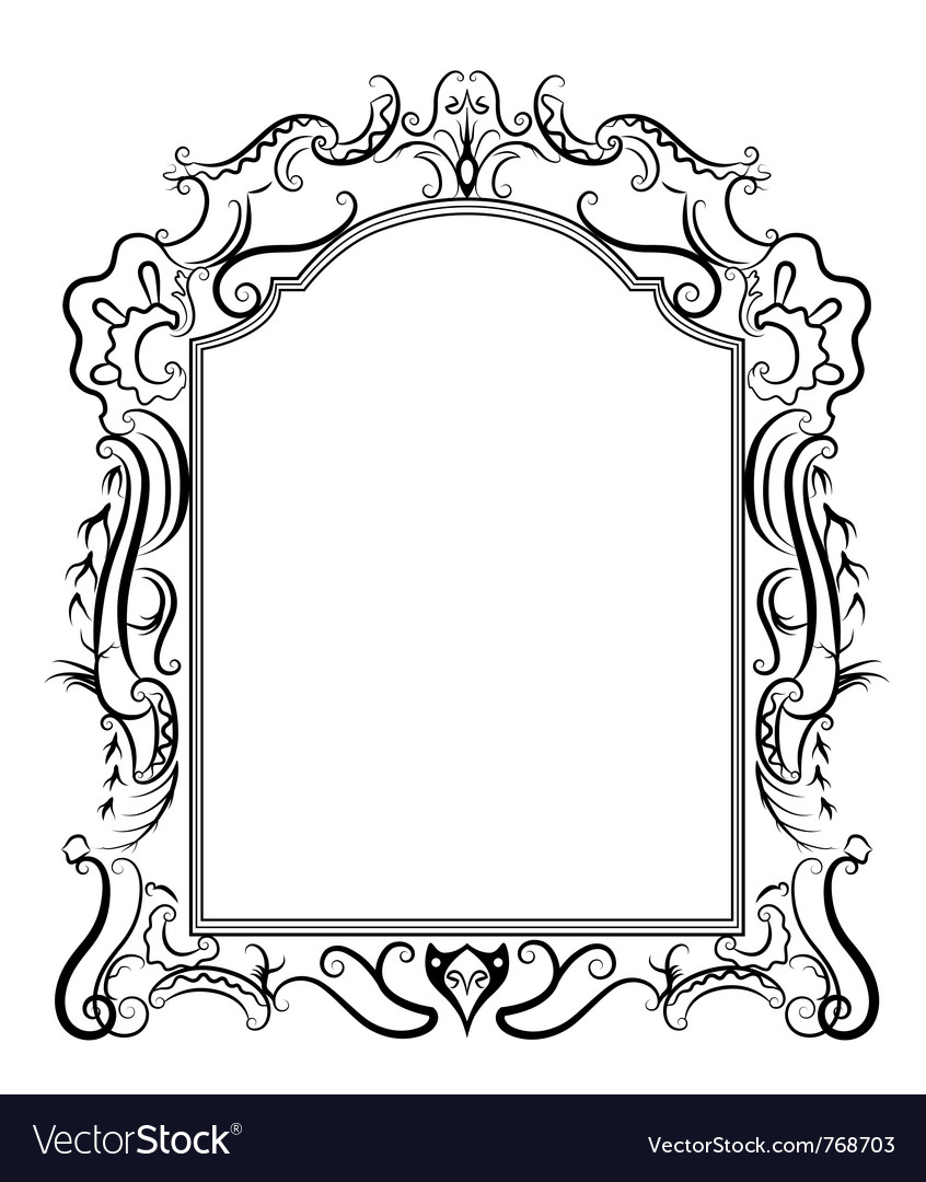 Stylized baroque frame Royalty Free Vector Image