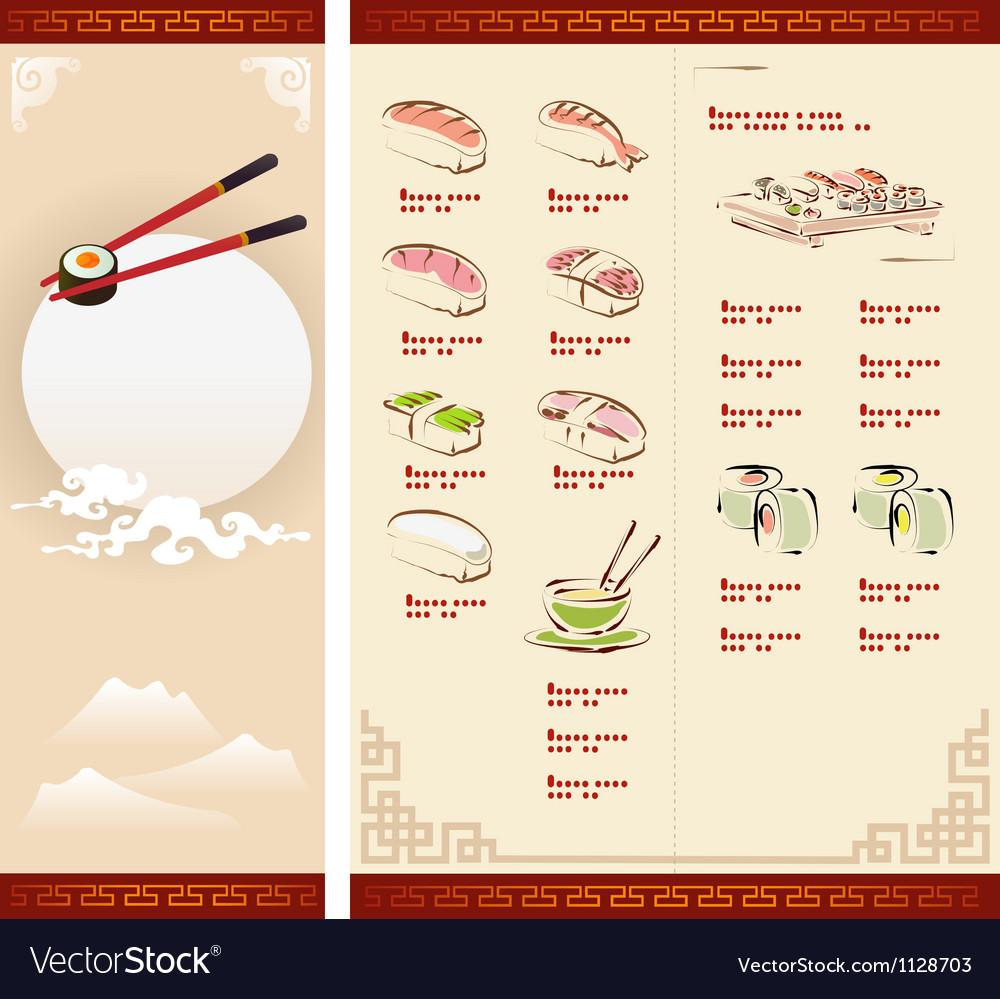Template Design of Sushi Menu