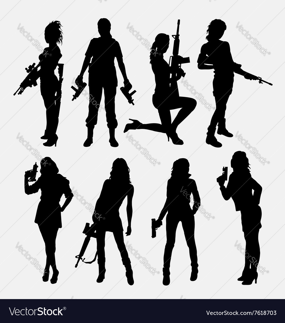 Woman and gun sexy pose silhouette