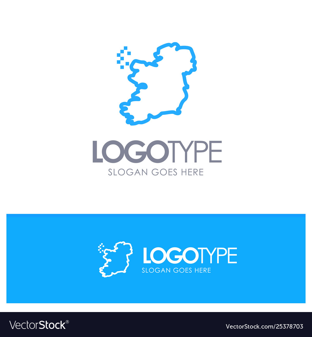 World map ireland blue outline logo place for