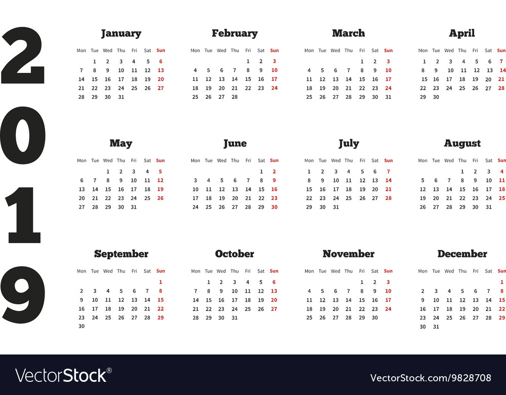 Weeks Of The Year Calendar 2019 Calendar on 2019 year with week starting from Vector Image