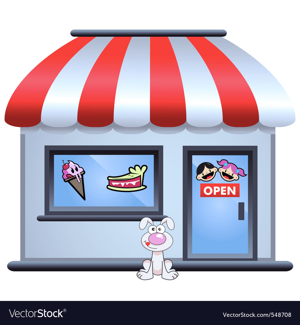 Candy store with puppy in front vector image
