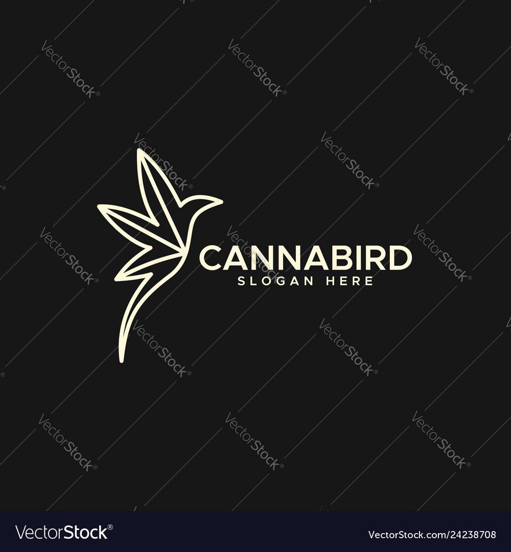 Cannabis hummingbird logo monoline