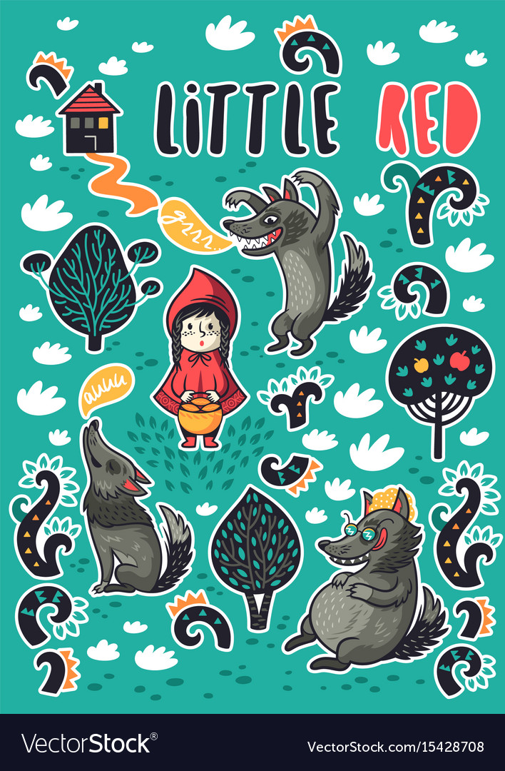 Collection of stickers with little girl and