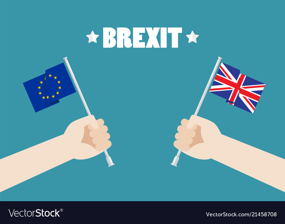 Hands holding european union and british union