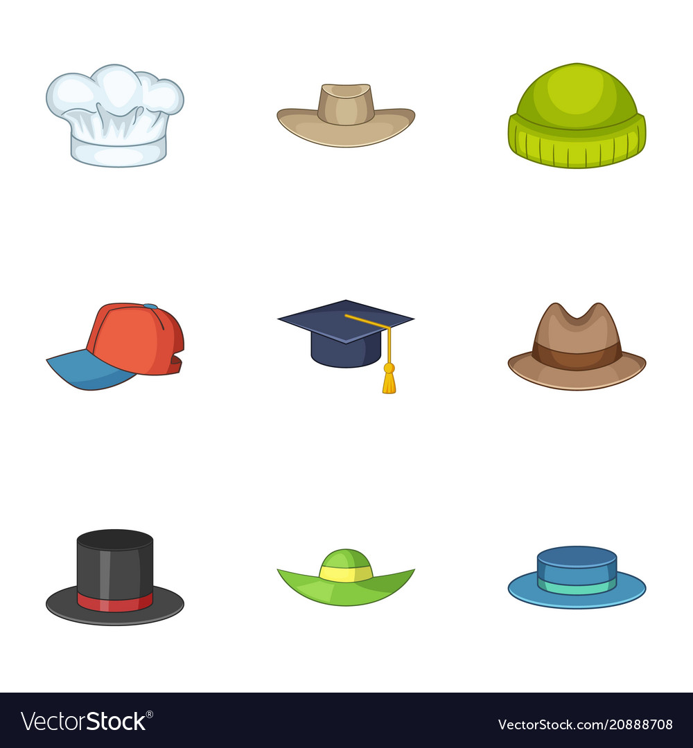 Knitted hat icons set cartoon style Royalty Free Vector 0e5760700177