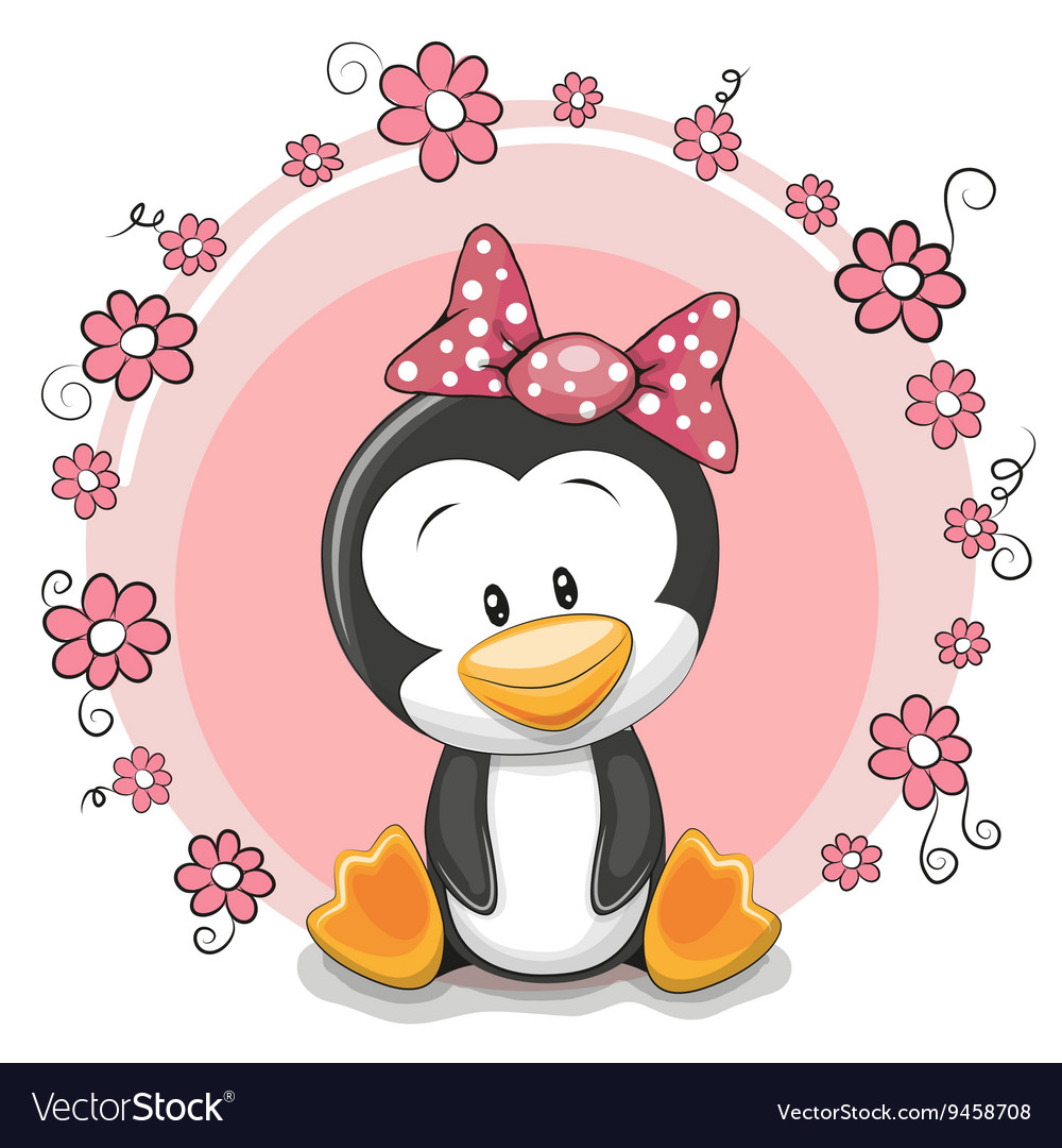 penguin with flowers royalty free vector image