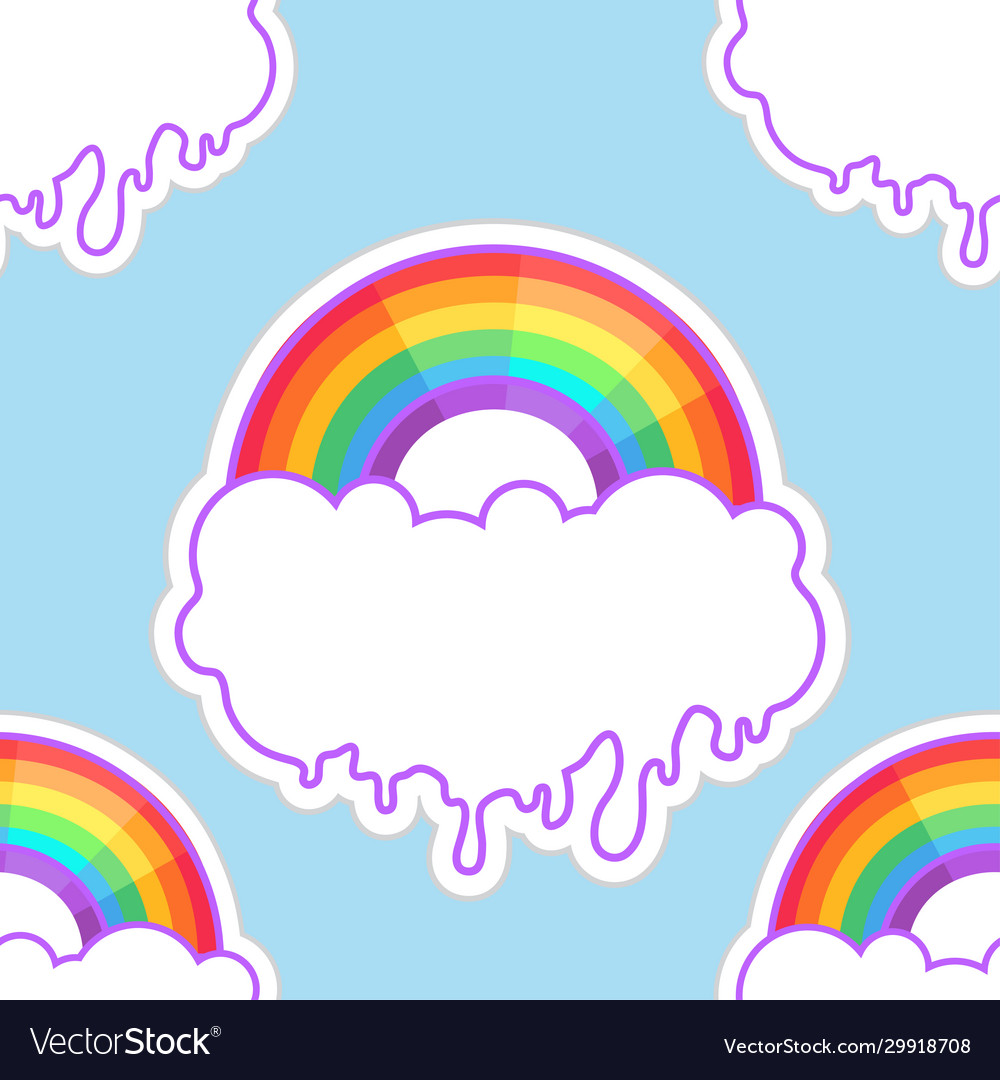 Rainbows and clouds seamless pattern trendy