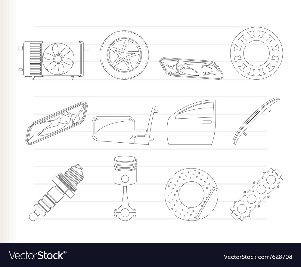 Realistic car parts and services icons Royalty Free Vector