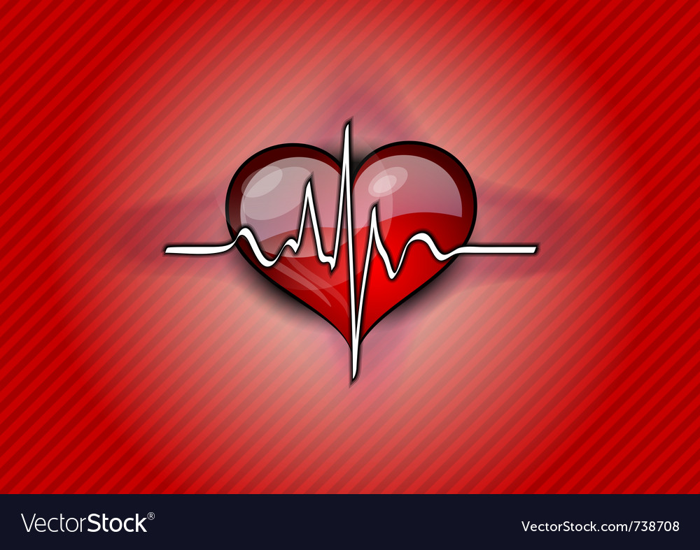 Red heart with pulse rhythm