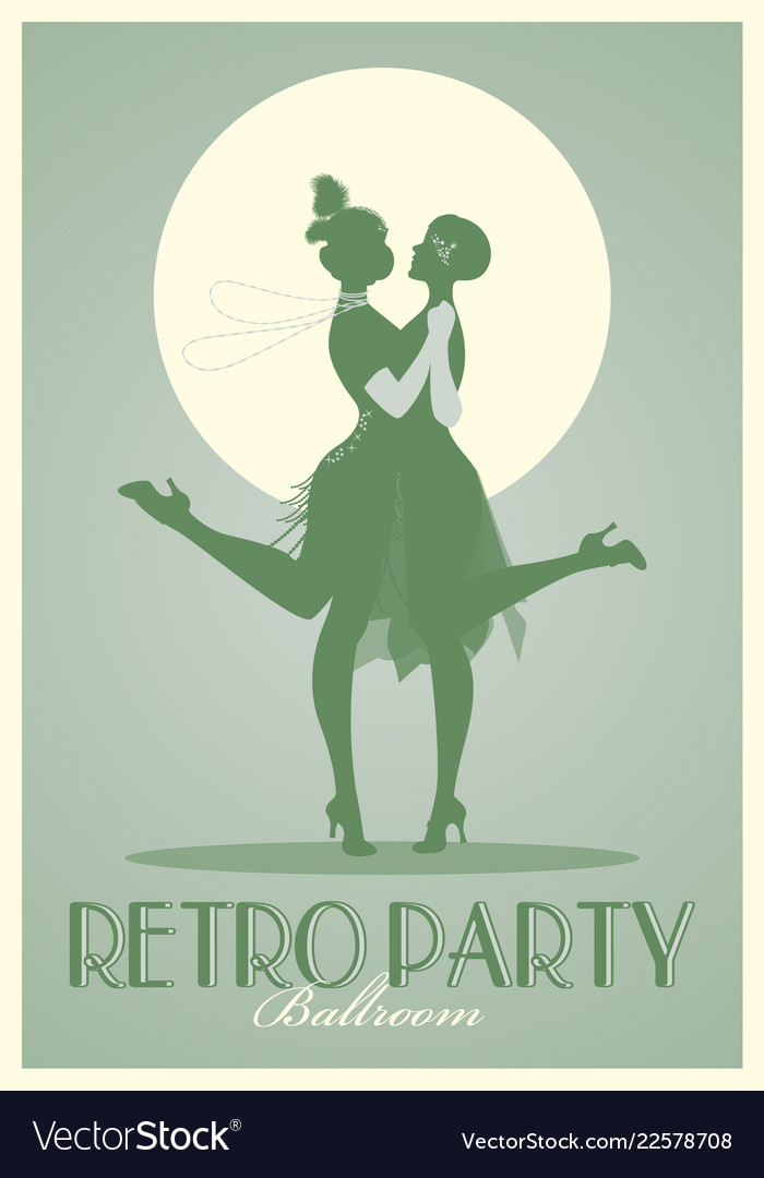 Retro party poster silhouettes of flappers