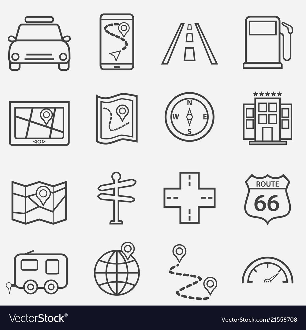 Road trip travel and navigation line icons