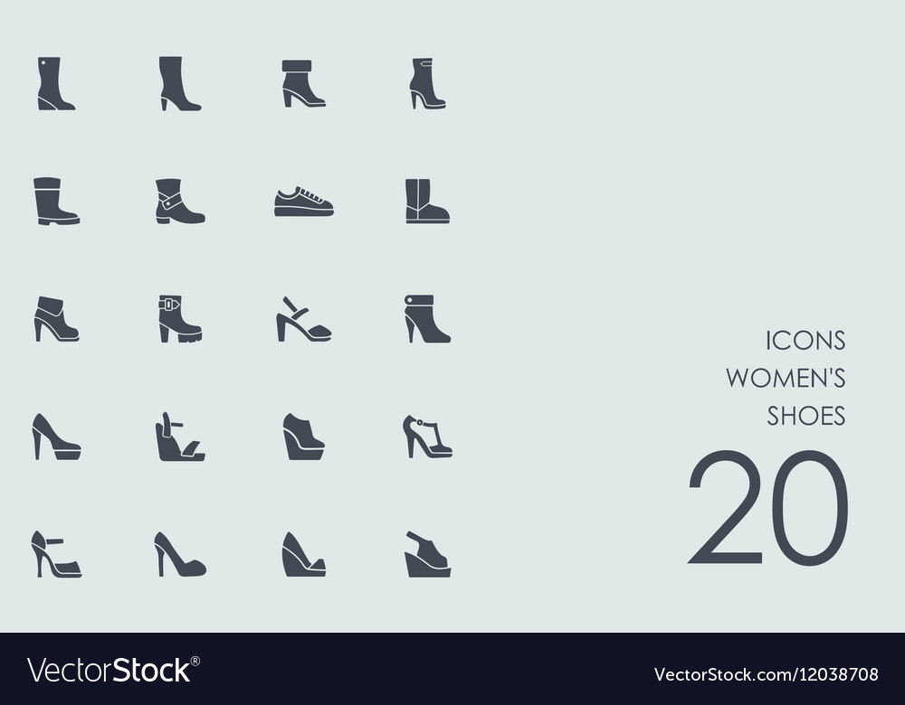 Set of womens shoes icons